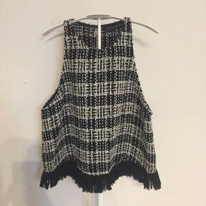 Zara tweedy fringe tank top M